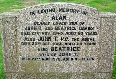 Memorial in St.Helens Cemetery to Cpl. John Davies, winner of the Victoria Cross