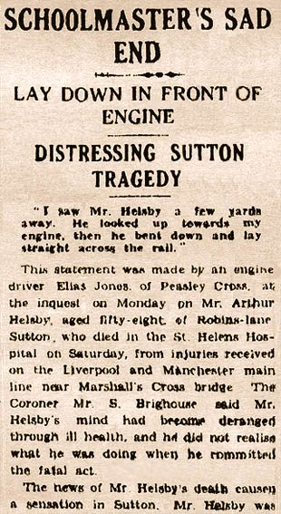 St.Helens Reporter article on death of Arthur Helsby in 1930