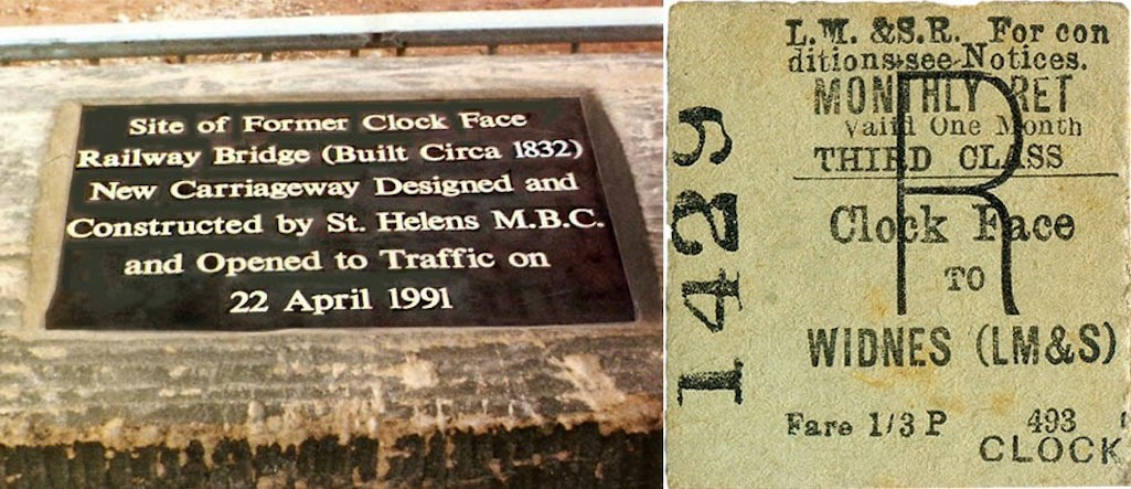 One of the last Clock Face Railway tickets and plaque in Clock Face Road, since stolen
