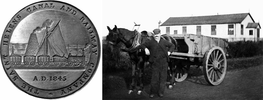 St.Helens Canal and Railway logo - horse and cart in Clock Face Road, St.Helens