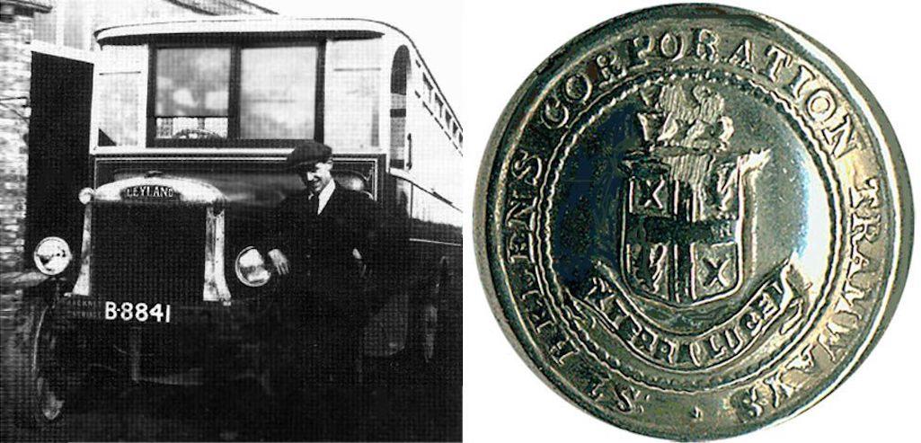 Sutton Manor Boneshaker bus; and St.Helens Tramways staff badge