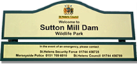 Sutton Mill Dam sign